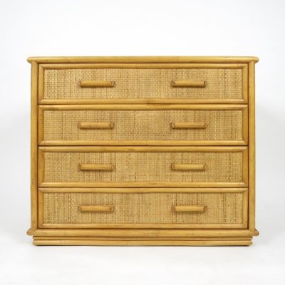 Bamboo & rattan chest of drawers, 1970s