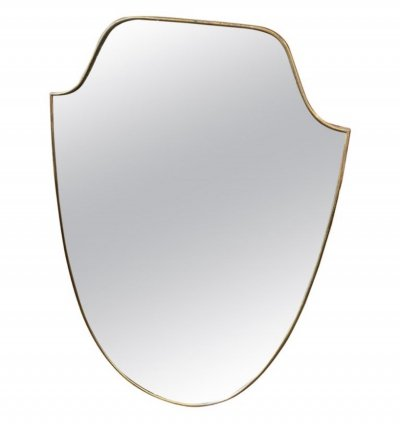 Mid-Century Modern Brass Shield Wall Mirror, 1950s