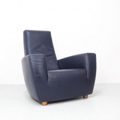 Longa blue leather lounge chair by Gerard van den Berg, 90's