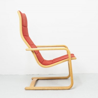 Yngve Ekstrom orange red Lamello lounge chair for Swedese, 1980s
