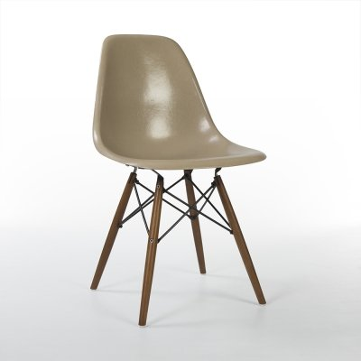 Greige Herman Miller Original Vintage Eames DSW Dining Side Chair