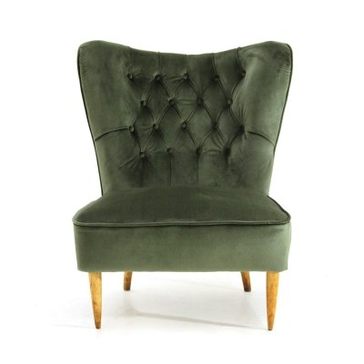 Green velvet armchair with quilted backrest, 1930s