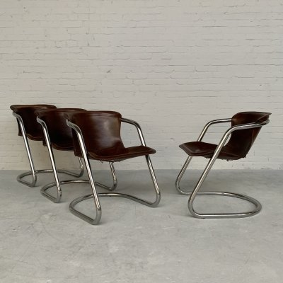 Set of 4 patinated chairs by Willy Rizzo for Cidue, Italy 1970s