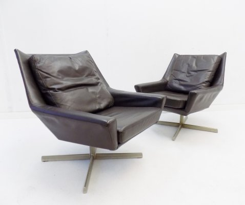 Rolf Benz set of 2 brown leather lounge chairs, 1960s