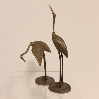 Set of small brass Cranes, 1980s