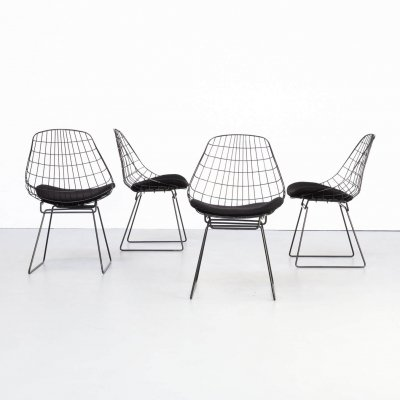 Set of 4 Cees Braakman en Adriaan Dekker SM05 wire chairs for Pastoe, 1960s