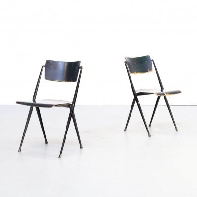 Pair of Wim Rietveld 'pyramid' chairs for Ahrend de Cirkel, 1950s