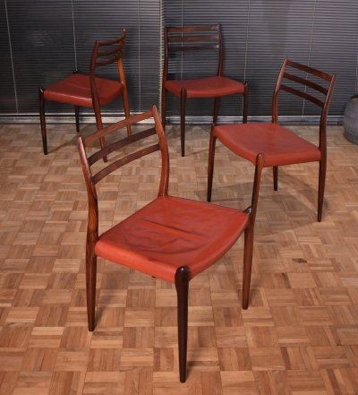 Set of 4 Niels Moller Model 78 Brazilian Rosewood Chairs in Original Leather