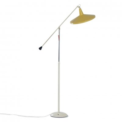 Yellow Panama Floor Lamp model 6350 by Wim Rietveld for Gispen, 1957