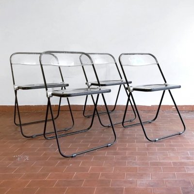 Set of 4 Plia dining chairs by Giancarlo Piretti for Anonima Castelli, 1970s