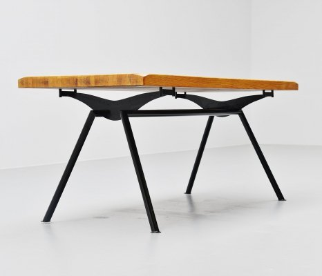 Quality industrial dining table, France 1960
