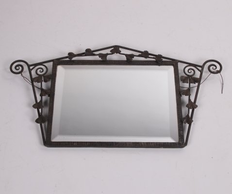 Art deco mirror with metal flower border, 1920s