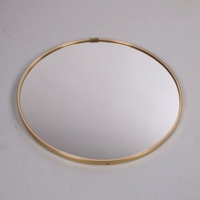 Vintage round mirror with gold rim, 1960s