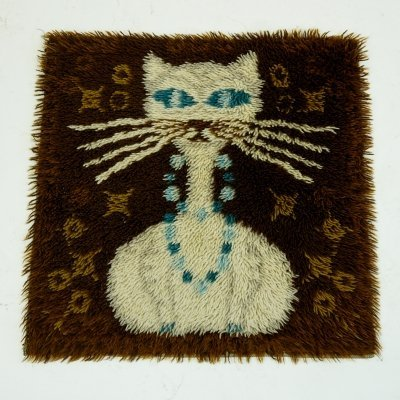 Danish Modern Rya Rug with Cat