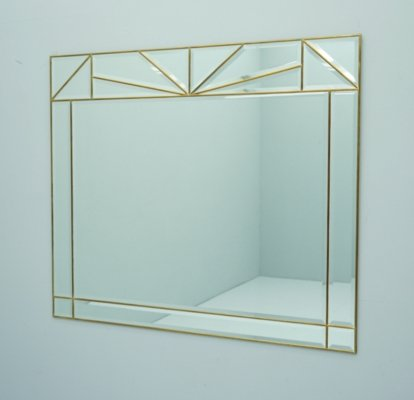 Large Wall Mirror in Brass & Glass, France 1970s