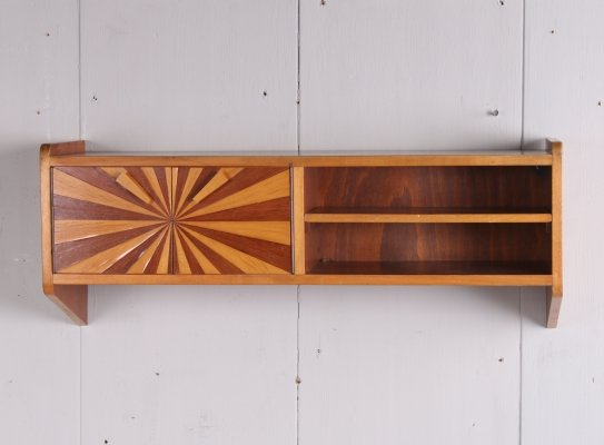 Scandinavian design floating wooden wall cupboard, 1960s