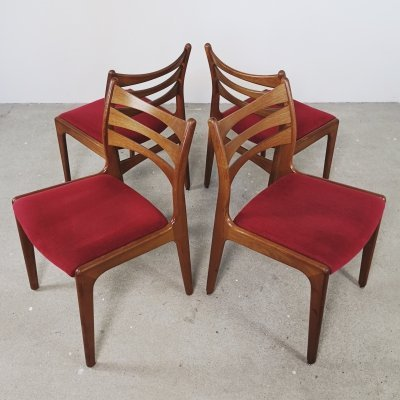 Teak ladder back chairs, 1960s