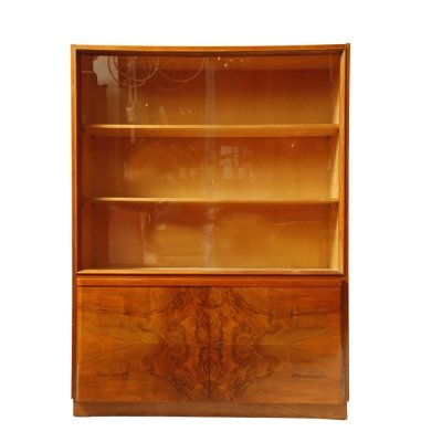 Mid century modern cabinet with bookcase in Walnut, Czechoslovakia 1950s