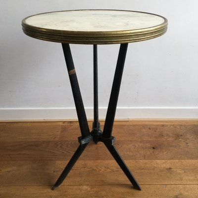 Two Art Deco bistro tables with marble top & brass rim by Berc Antoine, Paris 1920s
