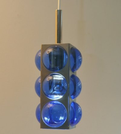 Blue glass & chrome hanging light, 1980s