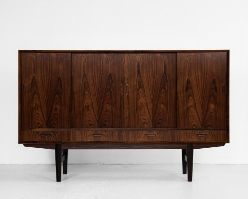 Midcentury Danish highboard in rosewood with bar, 1960s