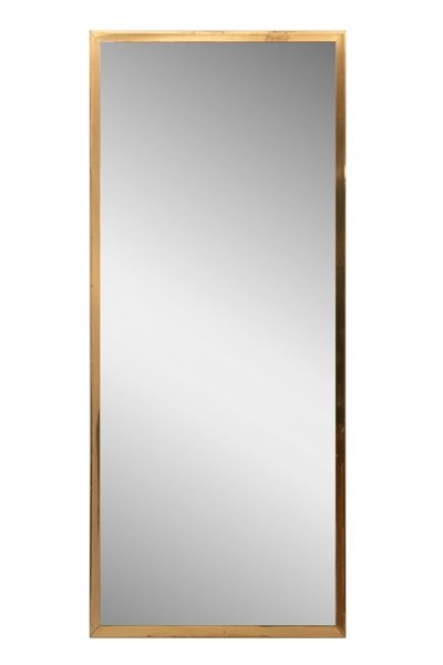 Hollywood Regency Brass Framed Hall Mirror, c.1970