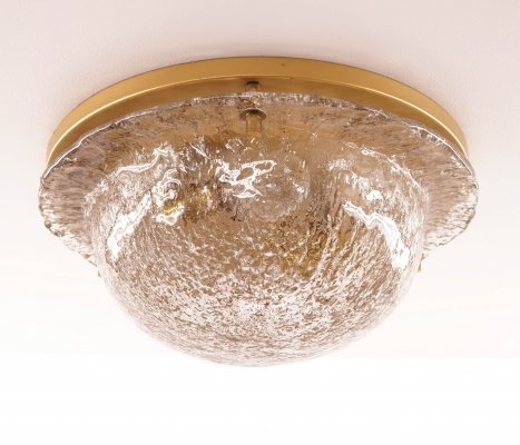 Vintage Brass & Glass Flush Mount from Cosack