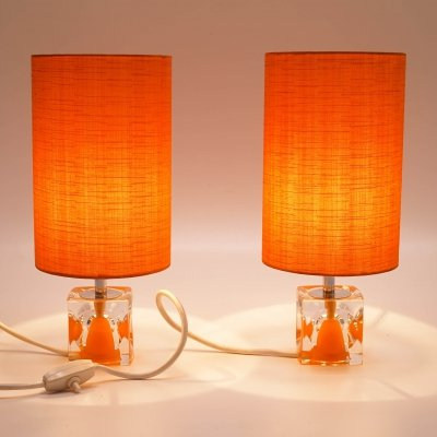 Pair of Space Age Table Lamps with Orange Shades