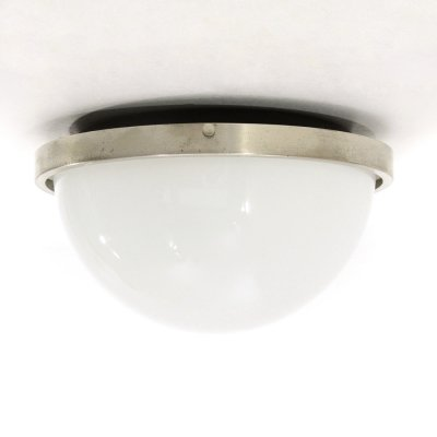 Ceiling lamp in white glass & metal, 1970s