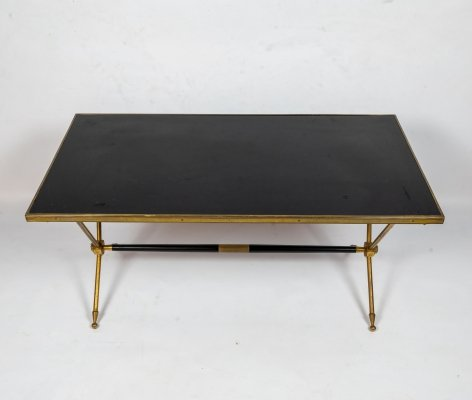 French Neoclassical Raphaël Raffel Brass & Opaline Coffee Table, 1960s