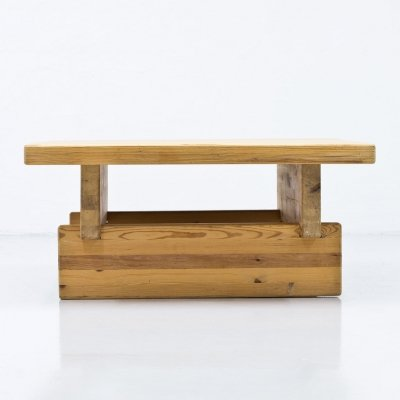 Swedish Pine Square Coffee Table by Roland Wilhelmsson, 1970s