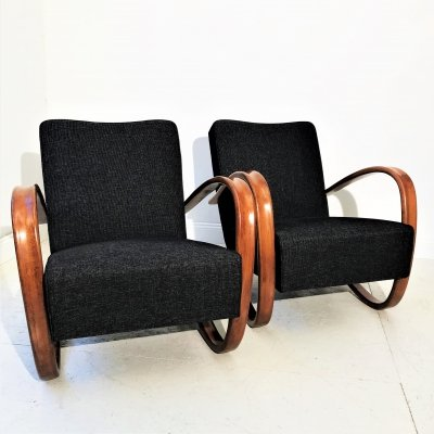 Art Deco H-269 Bentwood chairs by Jindřich Halabala, 1930s
