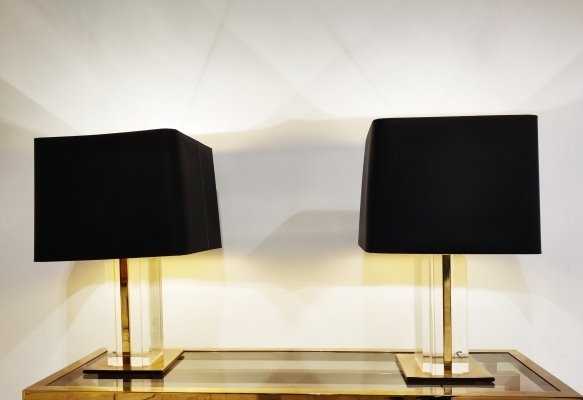 Pair of vintage brass & lucite table lamps, 1970s