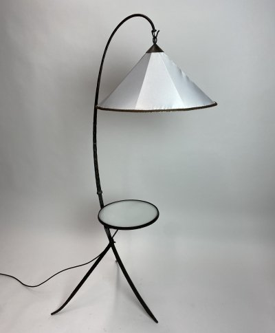 Mid century forged floor lamp with table, 1930s
