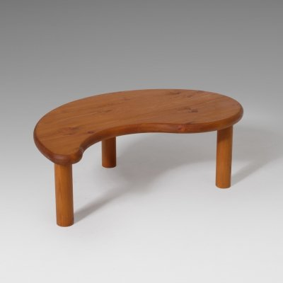 Freeform coffee table in solid pine, 1970s