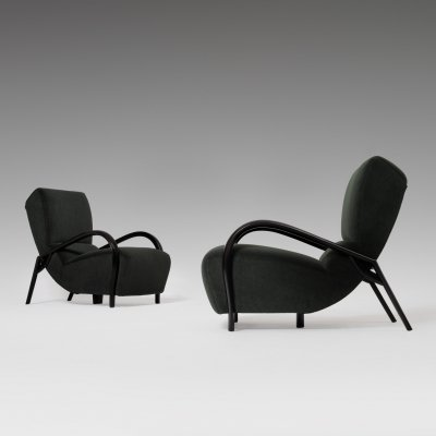 Pair of Curved Italian Lounge Chairs, 1940s