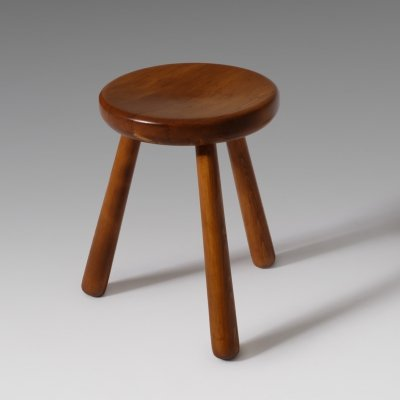 French Midcentury modern stool in solid Elm, 1960s