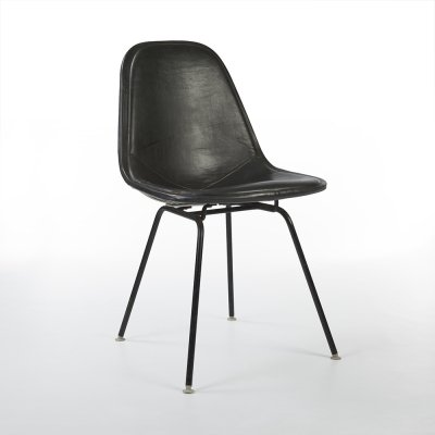 Black Upholstered Herman Miller Original Vintage Eames DKX Wire Dining Chair