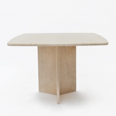 Square travertine dining or cocktail table, 1970s