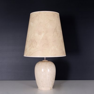 Travertine stone lamp with marbled shade, 1970's