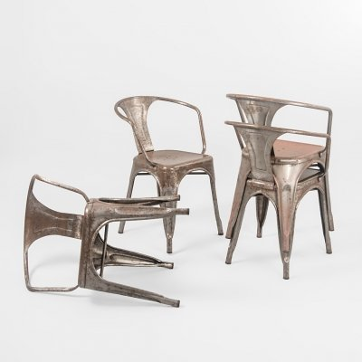 Set of 4 A56 dining chairs by Jean Pauchard for Tolix, 1960s