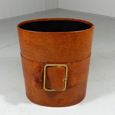 Leather paper waste basket, 1960's