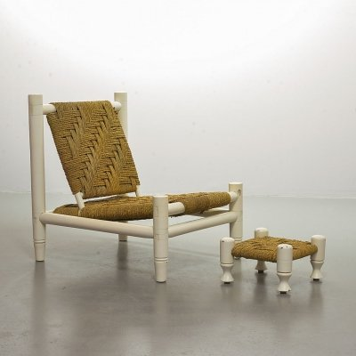 Low seat sisal rope & oak lounge chair with footstool, France 1960s