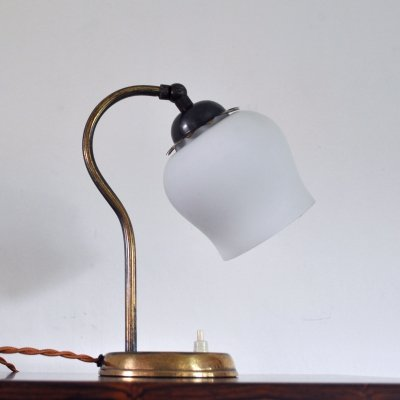Brass & opaline glass Art Deco table lamp, Scandinavia 1930s