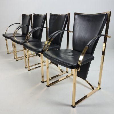 German exclusive brass & leather dining chairs by Ronald Schmitt, 1990s