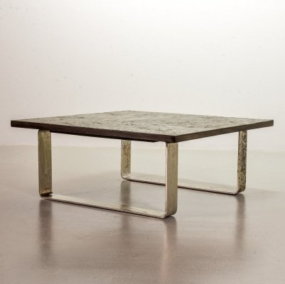 Ardesia collection brutalist square slate stone coffee table, Belgium 1960s