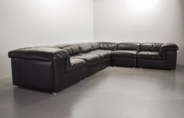 XXL Durlet 'Jeep' Modular Sofa in Blackish Brown Leather, Belgium 1970s