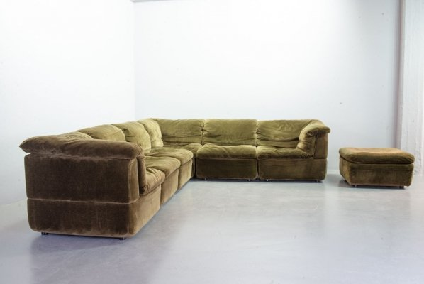 Rolf Benz Moss Green Velvet Modular Sectional Sofa with 7 Elements, Germany 1970s