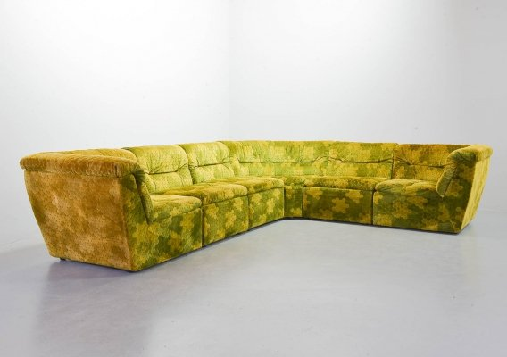 Laauser Gold-Green Velvet Dots Modular Lounge Sectional Sofaset with 6 Elements
