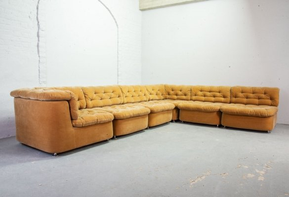 Dreipunkt Large Modular Lounge Sofa in Ochre Peach Velvet Fabric, Germany 1970s